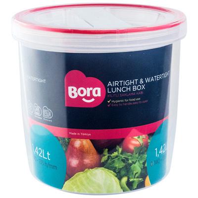 Купить контейнер круглый 1.42л н135хd140 мм полоса красная пластик bora 1/12 (арт. 060) в Москве