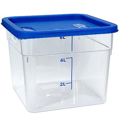 Купить контейнер квадратный 6л дхшхв 230х230х180 мм крышка синяя пластик bora 1/12 в Москве