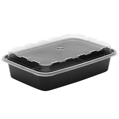 Купить контейнер 830мл дхшхв 207х140х57 мм с прозрачной крышкой прямоугольный pp черный