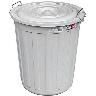 Купить бак мусорный круглый 48л н480хd430 мм с крышкой на зажимах пластик серый bora 1/1 (арт. 713) в Москве