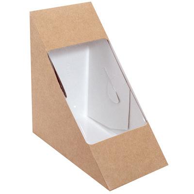 Купить упаковка для бутербродов, сэндвичей дхшхв 125х125х70 мм треугольная крафт 1/50/500 в Москве