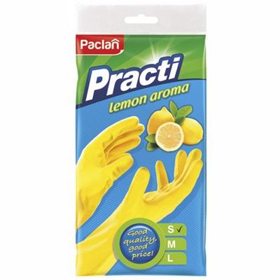 Купить перчатки хозяйственные s с ароматом лимона латекс желтые paclan 1/5/100 в Москве