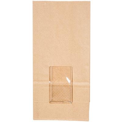 Купить пакет бумажный дхшхв 80х50х170 мм с окном 50 мм с прямоугольным дном крафт
