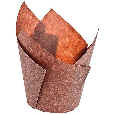 Купить капсула бумажная (тарталетка) тюльпан н80хd50 мм коричневая 1/180/1800 в Москве