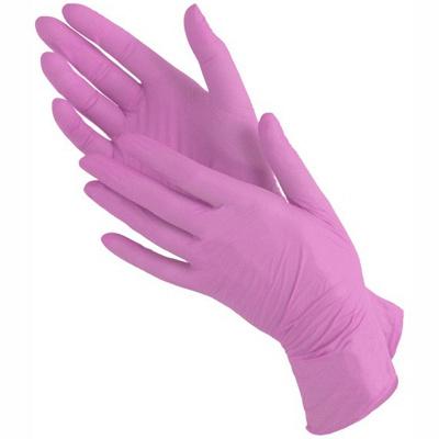 Купить перчатки одноразовые нитриловые l 100 шт/уп розовые 1/10 в Москве