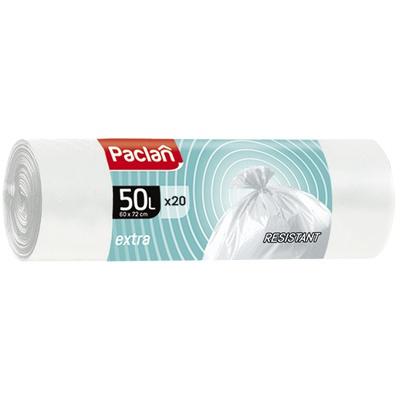 Купить мешок (пакет) мусорный 50л 600х720 мм 20 шт/рул 9 мкм extra пнд белый paclan 1/40 в Москве