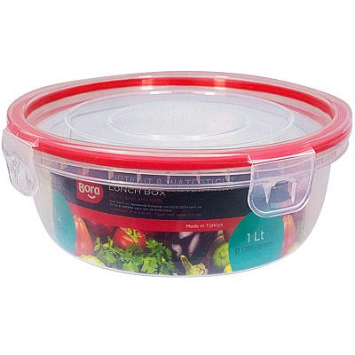 Купить контейнер круглый 1л н68хd178 мм крышка на защелках полоса красная пластик bora 1/12 (арт. 825) в Москве