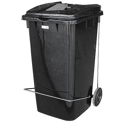 Купить бак мусорный прямоугольный 240л дхшхв 730х580х1050 мм на колесах с педалью пластик черный bora 1/3 (арт. 995) в Москве