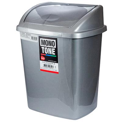 Купить контейнер мусорный прямоугольный 8л дхшхв 252х200х330 мм с качающейся крышкой пластик темно-серый bora