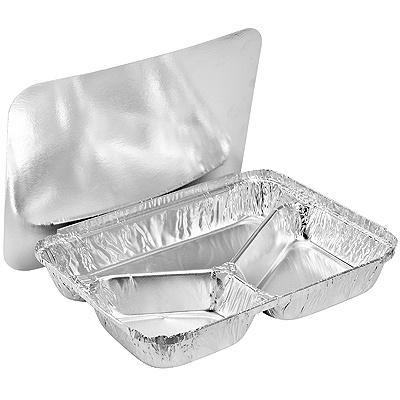 Купить контейнер (касалетка) 760мл дхшхв 227х177х30 мм 3-секционный с крышкой прямоугольный алюминий 1/100/1000 в Москве