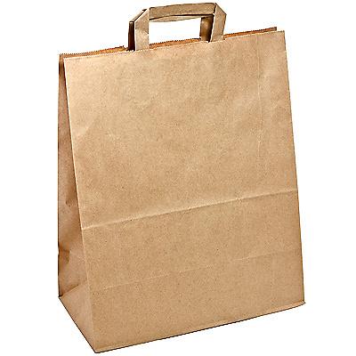Купить пакет бумажный крафт дхшхв 320х200х370 мм с плоскими ручками коричневый 1/200 в Москве