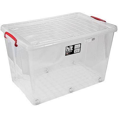 Купить контейнер прямоугольный 67л дхшхв 400х620х380 мм с крышкой на зажимах на колесах пластик bora 1/8 (арт. 286) в Москве