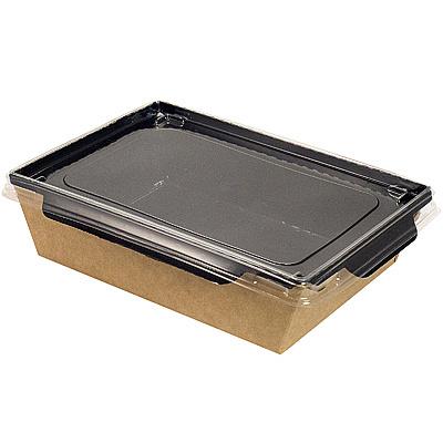 Купить упаковка 500мл дхшхв 165х115х45 мм с прозрачной крышкой крафт 1/50/300 в Москве