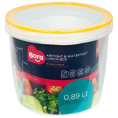 Купить контейнер круглый 0.89л н105хd122 мм полоса оранжевая пластик bora 1/12 (арт. 057) в Москве