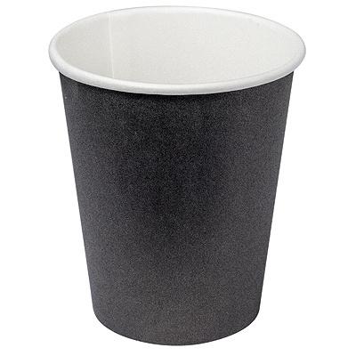 Купить стакан бумажный 250мл d80 мм 1-сл для горячих напитков черный v 1/50/1000 в Москве