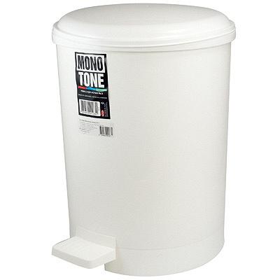 Купить контейнер мусорный круглый 20л н415хd310 мм с педалью пластик белый bora 1/6 (арт. 183) в Москве