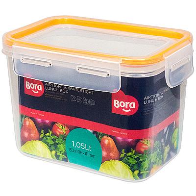 Купить контейнер герметичный прямоугольный 1.05л дхшхв 152х106х111 мм крышка на защелках полоса оранжевая пластик bora 1/36 (арт. 872) в Москве