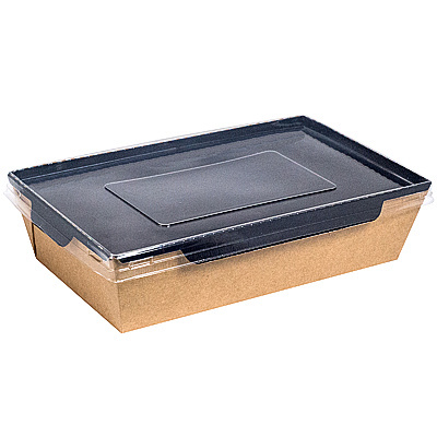 Купить упаковка 800мл дхшхв 186х126х55 мм с прозрачной крышкой крафт 1/200 в Москве