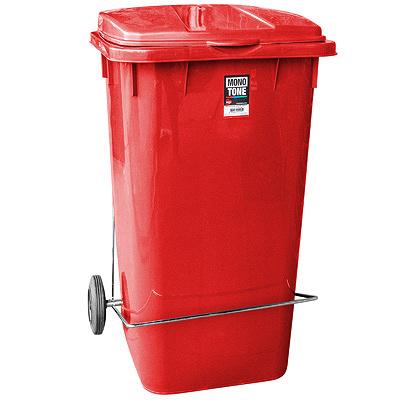 Купить бак мусорный прямоугольный 240л дхшхв 730х580х1050 мм уценка! (царапины внутри и снаружи) на колесах с педалью пластик красный bora 1/1 (арт. 995) в Москве