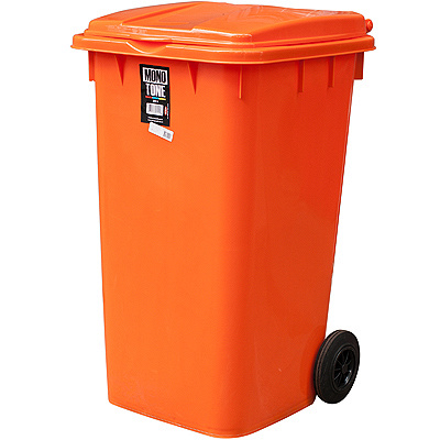 Купить бак мусорный прямоугольный 240л дхшхв 730х580х1050 мм на колесах пластик оранжевый bora 1/3 (арт. 994) в Москве