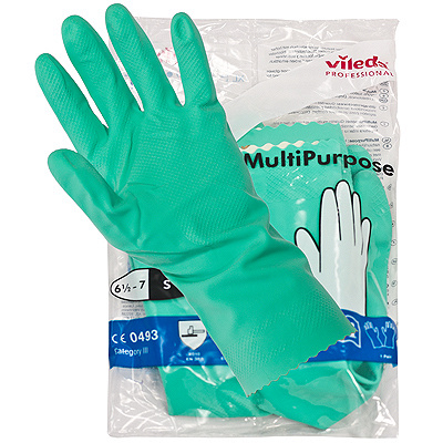 Купить перчатки хозяйственные s многоцелевые латекс зеленые vileda 1/10/50 (арт. 100755) в Москве