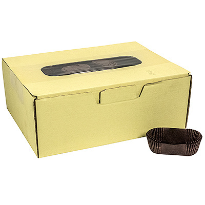 Купить капсула бумажная (тарталетка) овал дхшхв 65х30х23 мм коричневая 1/1000/10000 в Москве