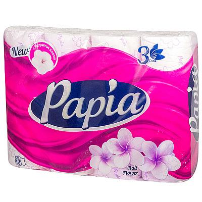 Купить бумага туалетная 3-сл 12 рул/уп papia цветы бали белая hayat 1/7 в Москве