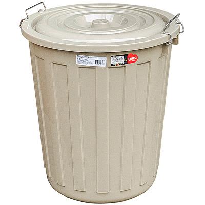 Купить бак мусорный круглый 48л h480хd430 мм с крышкой на зажимах пластик коричневый bora 1/1 (арт. 713) в Москве