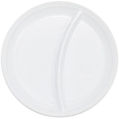 Купить тарелка d205 мм 2-секционная ps белая ипк 1/100/2000 в Москве
