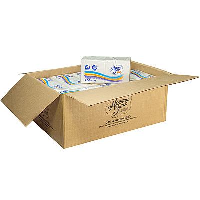 Купить салфетка бумажная белая 24х24 см 2-сл 200 шт/уп*18 сцбк 1/1 в Москве