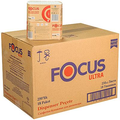 Купить салфетка бумажная 1-сл 250 шт/уп*18 240х265 мм для диспенсера focus ultra белая hayat 1/1 (арт. 5051791) в Москве