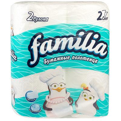 Купить полотенце бумажное 2-сл 2 рул/уп familia белое hayat 1/14 в Москве