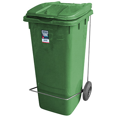 Купить бак мусорный прямоугольный 120л дхшхв 600х480х960 мм уценка! (крышка другого оттенка) на колесах с педалью пластик зеленый bora 1/1 (арт. 998) в Москве
