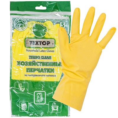 Купить перчатки хозяйственные s turbo clean латекс textop 1/12/300 в Москве