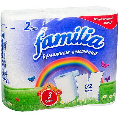 Купить полотенце бумажное 2-сл 3 рул/уп familia радуга белое hayat 1/16 в Москве