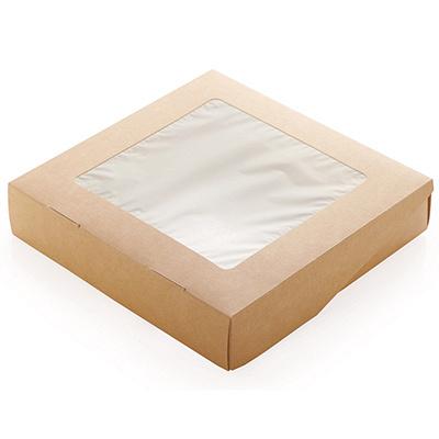 Купить упаковка 1500мл дхшхв 200х200х40 мм с окном крафт gdc 1/50/200 в Москве