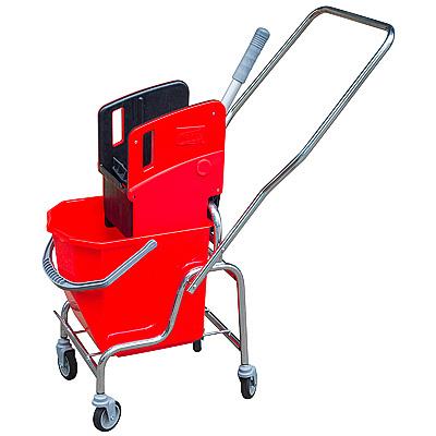 Купить тележка уборочная одноведерная 25 л с отжимом красная хромированная, пластиковая hunter 1/1 в Москве