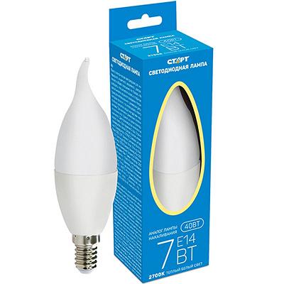 Купить лампа светодиодная e14 теплый свет 7w 220v пламя старт 1/10 в Москве
