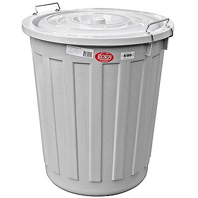 Купить бак мусорный круглый 60л н540хd460 мм с крышкой на зажимах пластик серый bora 1/10 (арт. 255) в Москве