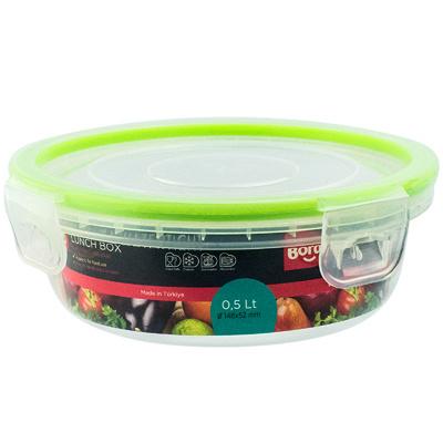Купить контейнер круглый 0.5л н52хd148 мм крышка на защелках полоса салатовая пластик bora 1/12 (арт. 823) в Москве