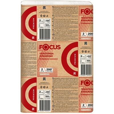 Купить полотенце бумажное листовое 2-сл 200 лист/уп 215х240 мм z-сложения focus extra белое hayat 1/20 (арт. 5048672) в Москве