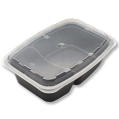 Купить контейнер 830мл дхшхв 207х140х57 мм 2-секционный с прозрачной крышкой прямоугольный pp черный пп 1/150 в Москве