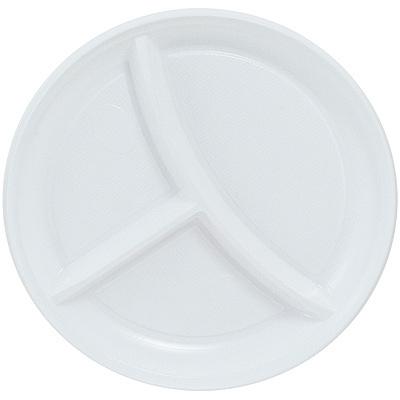 Купить тарелка d205 мм 3-секционная ps белая ипк 1/100/2000 в Москве