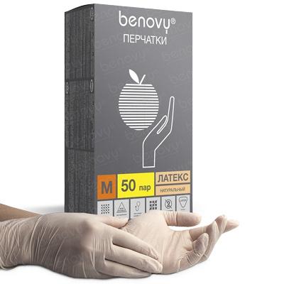 Купить перчатки одноразовые латексные m 100 шт/уп опудренные бежевые