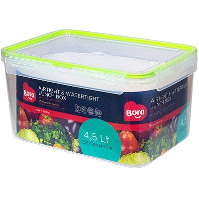 Купить контейнер герметичный прямоугольный 4.5л дхшхв 225х180х140 мм крышка на защелках полоса салатовая пластик bora 1/24 (арт. 880) в Москве