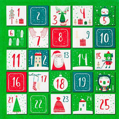 Купить салфетка бумажная 33х33 см 3 -сл 20 шт/уп рождественский календарь papstar 1/15 (арт. 87086) в Москве