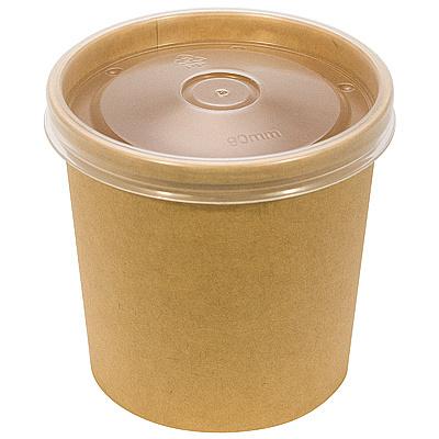 Купить контейнер бумажный 340мл н85хd70 мм для горячего, холодного с прозрачной крышкой крафт gdc 1/25/250 в Москве