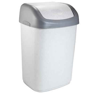 Купить контейнер мусорный прямоугольный 14л дхшхв 265х120х420 мм с качающейся крышкой пластик полимербыт 1/10 в Москве