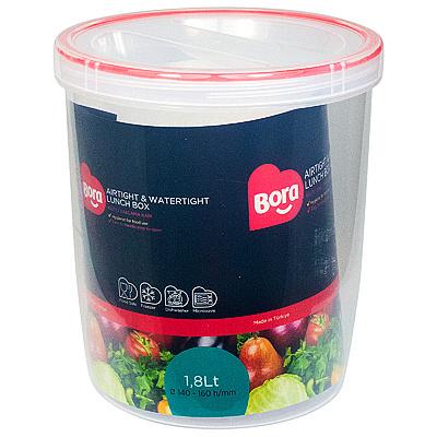 Купить контейнер круглый 1.8л н160хd140 мм полоса красная пластик bora 1/12 (арт. 061) в Москве