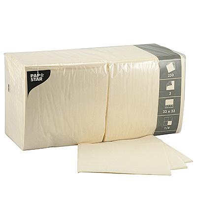 Купить салфетка бумажная кремовая 33х33 см 3-сл 250 шт/уп papstar 1/4 (арт. 12478) в Москве